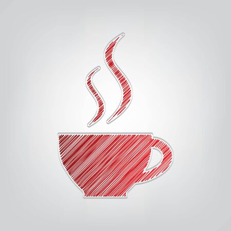 Cup sign with two small streams of smoke. Red gradient scribble Icon with artistic contour gray String on light gray Background.