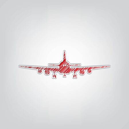 Flying Plane sign. Front view. Red gradient scribble Icon with artistic contour gray String on light gray Background.