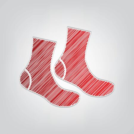 Socks sign. Red gradient scribble Icon with artistic contour gray String on light gray Background. Çizim