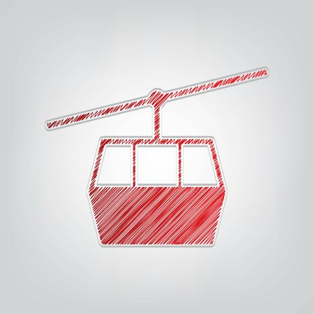 Funicular, Cable car sign. Red gradient scribble Icon with artistic contour gray String on light gray Background.