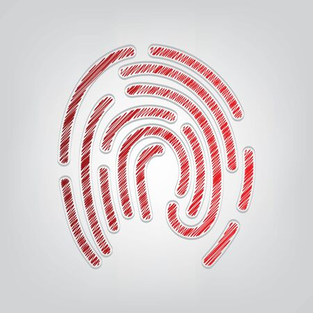 Fingerprint sign illustration. Red gradient scribble Icon with artistic contour gray String on light gray Background.