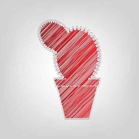 Cactus sign illustration. Red gradient scribble Icon with artistic contour gray String on light gray Background. 向量圖像