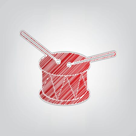 Drum sign. Red gradient scribble Icon with artistic contour gray String on light gray Background.
