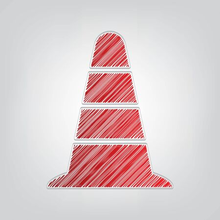 Road traffic cone icon. Red gradient scribble Icon with artistic contour gray String on light gray Background.
