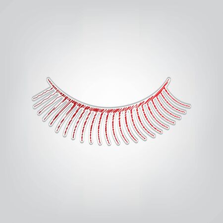 Eyelashes sign. Red gradient scribble Icon with artistic contour gray String on light gray Background. Stock fotó - 149539875