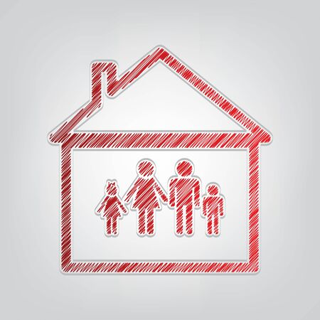 Family sign illustration. Red gradient scribble Icon with artistic contour gray String on light gray Background. Illustration