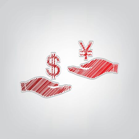 Currency exchange from hand to hand. Dollar and Yen. Red gradient scribble Icon with artistic contour gray String on light gray Background.