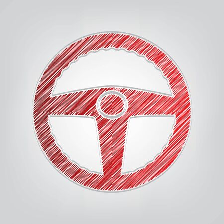 Car driver sign. Red gradient scribble Icon with artistic contour gray String on light gray Background. Ilustração