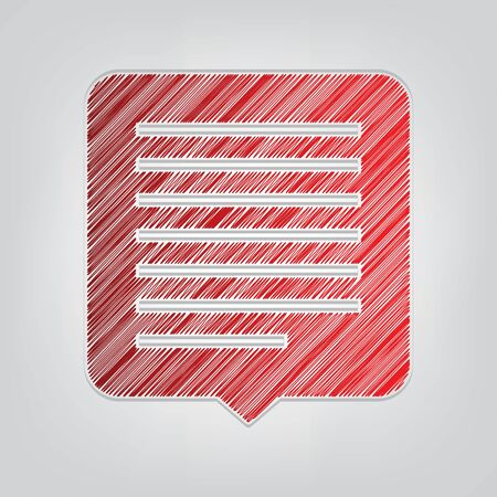 Text message sign illustration. Red gradient scribble Icon with artistic contour gray String on light gray Background.