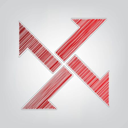 Cross from arrows icon. Red gradient scribble Icon with artistic contour gray String on light gray Background.