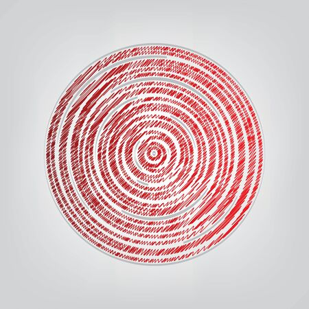 Wood cross section. Red gradient scribble Icon with artistic contour gray String on light gray Background. Illustration
