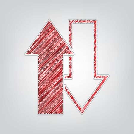 Arrows top down sign. Red gradient scribble Icon with artistic contour gray String on light gray Background.