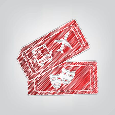 Two tickets for transport and theater sign. Red gradient scribble Icon with artistic contour gray String on light gray Background.
