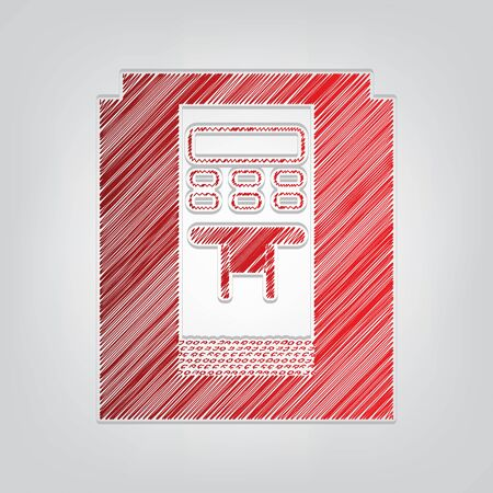 Coffee machine sign. Red gradient scribble Icon with artistic contour gray String on light gray Background.