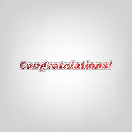Congratulations slogan. Red gradient scribble Icon with artistic contour gray String on light gray Background.  イラスト・ベクター素材