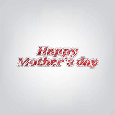 Happy mothers day. Red gradient scribble Icon with artistic contour gray String on light gray Background.