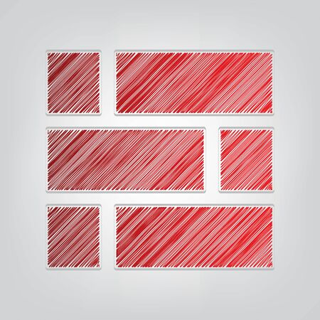 Brick wall sign. Red gradient scribble Icon with artistic contour gray String on light gray Background.