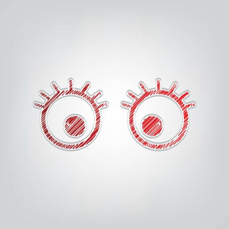 Cartoon eyes with eyelashes. Red gradient scribble Icon with artistic contour gray String on light gray Background.