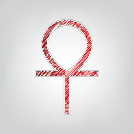 Ankh symbol, egyptian word for life, symbol of immortality. Red gradient scribble Icon with artistic contour gray String on light gray Background. 写真素材 - 150197606