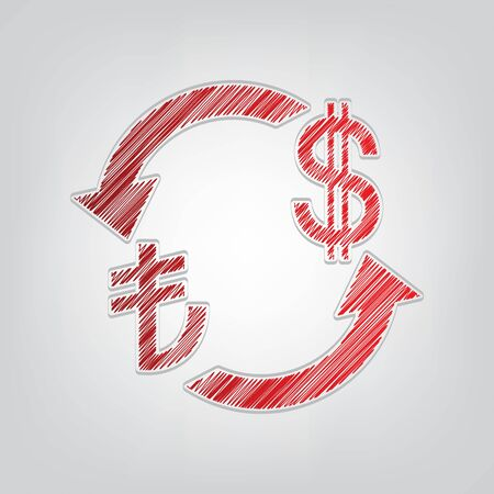 Currency exchange sign. Turkey Lira and US Dollar. Red gradient scribble Icon with artistic contour gray String on light gray Background.