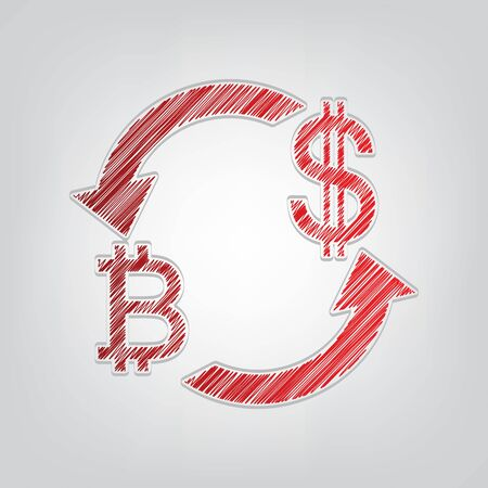 Currency exchange sign. Bitcoin and US Dollar. Red gradient scribble Icon with artistic contour gray String on light gray Background.