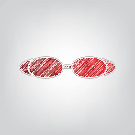 Diving glasses sign illustration. Red gradient scribble Icon with artistic contour gray String on light gray Background.