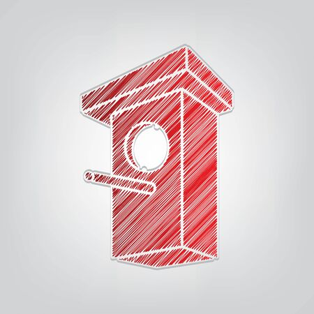 Birdhouse sign illustration. Red gradient scribble Icon with artistic contour gray String on light gray Background.