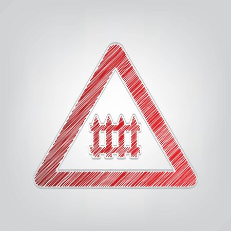 Railway Intersection sign. Red gradient scribble Icon with artistic contour gray String on light gray Background. Illusztráció