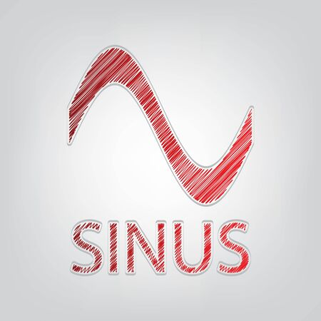 Sinus graph line icon. Red gradient scribble Icon with artistic contour gray String on light gray Background. Ilustracja