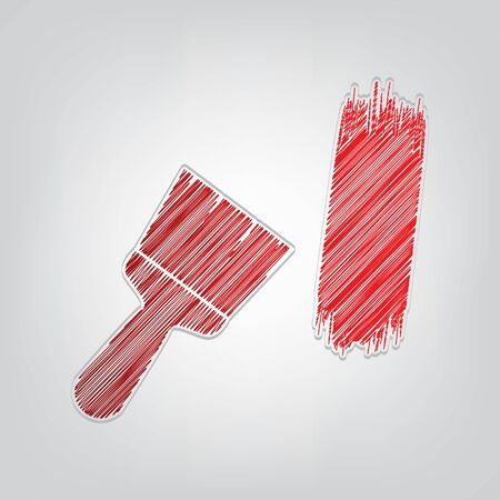 Paint brush sign. Red gradient scribble Icon with artistic contour gray String on light gray Background.