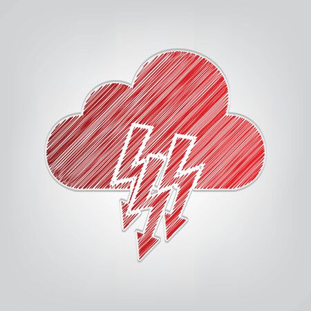 Cloud with lightning icon. Red gradient scribble Icon with artistic contour gray String on light gray Background. Ilustrace