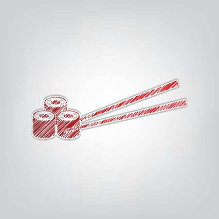 Sushi logo, Japanese sushi roll sign. Red gradient scribble Icon with artistic contour gray String on light gray Background.