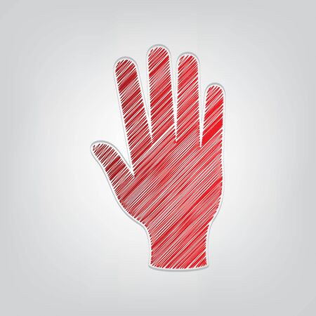Hand sign. Red gradient scribble Icon with artistic contour gray String on light gray Background.