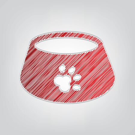 Pet dog bowl sign. Red gradient scribble Icon with artistic contour gray String on light gray Background.