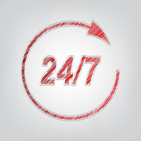 Support 24 hours sign. Red gradient scribble Icon with artistic contour gray String on light gray Background.