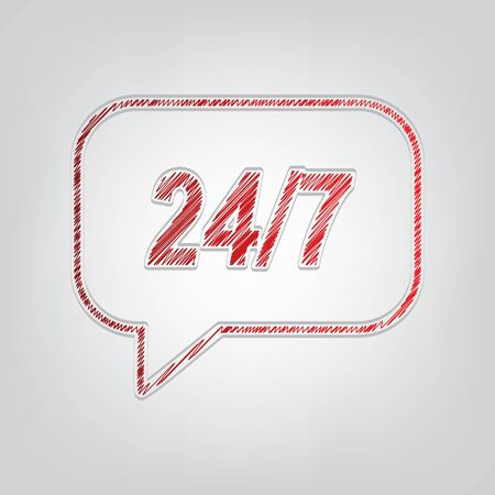 Support 24 hours sign. Red gradient scribble Icon with artistic contour gray String on light gray Background. Ilustrace