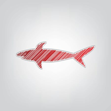 Shark sign. Red gradient scribble Icon with artistic contour gray String on light gray Background.