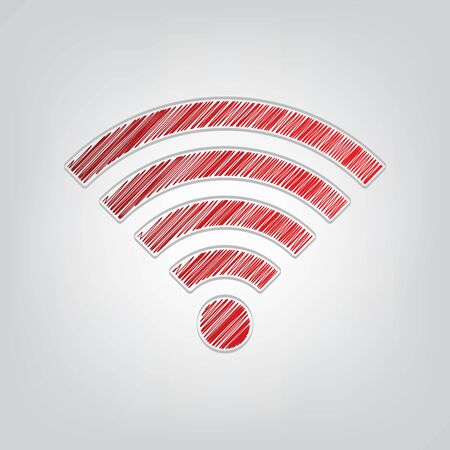 Wifi sign. Red gradient scribble Icon with artistic contour gray String on light gray Background. Ilustrace
