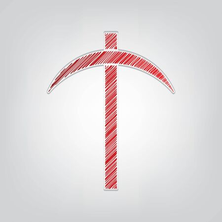 Pickaxe sign. Red gradient scribble Icon with artistic contour gray String on light gray Background. Ilustrace