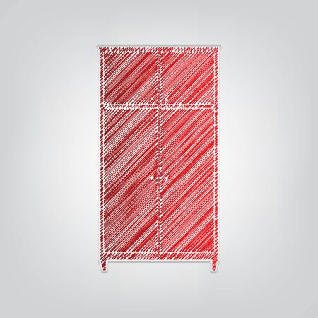 Wardrobe sign. Red gradient scribble Icon with artistic contour gray String on light gray Background. Ilustrace