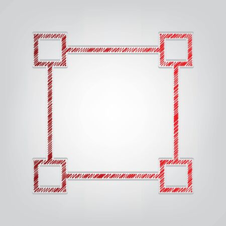 Square sign with anchors. Red gradient scribble Icon with artistic contour gray String on light gray Background.