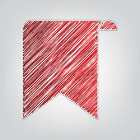 Bookmark sign. Red gradient scribble Icon with artistic contour gray String on light gray Background.