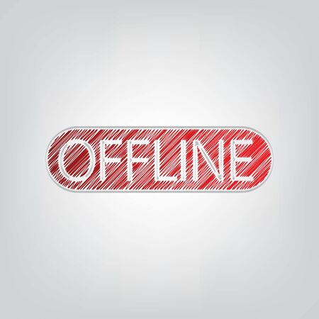 Offline sign. Red gradient scribble Icon with artistic contour gray String on light gray Background.