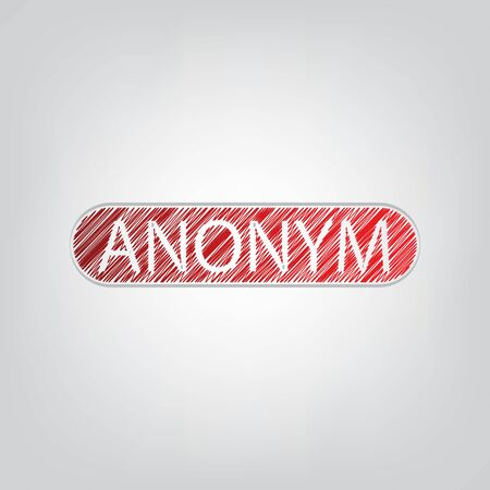 Anonym, Unknown person sign. Red gradient scribble Icon with artistic contour gray String on light gray Background.