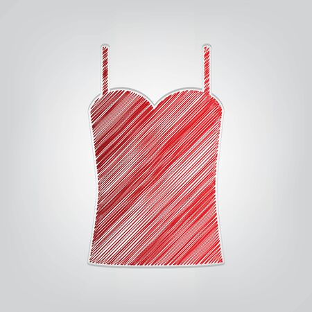 Underwear shirt underclothes sign. Red gradient scribble Icon with artistic contour gray String on light gray Background.