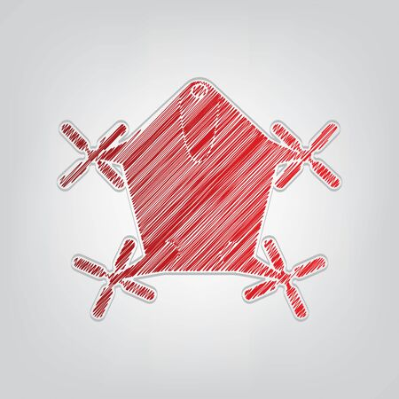 Drone quadrocopter sign. Red gradient scribble Icon with artistic contour gray String on light gray Background.
