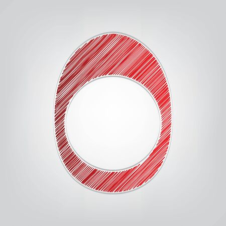 Egg with yolk. Red gradient scribble Icon with artistic contour gray String on light gray Background.