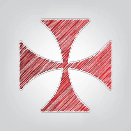Maltese cross sign. Red gradient scribble Icon with artistic contour gray String on light gray Background.