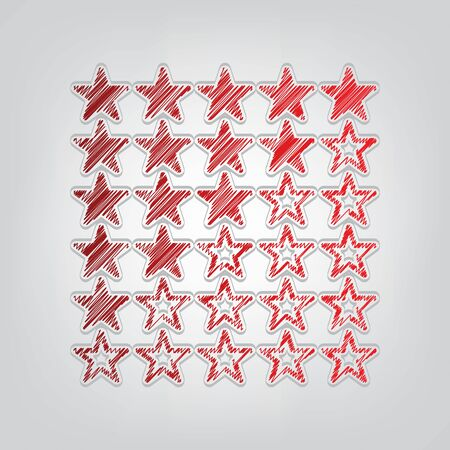 5 star rating sign. Red gradient scribble Icon with artistic contour gray String on light gray Background.