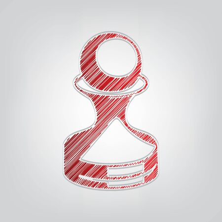 Chess figures sign. Red gradient scribble Icon with artistic contour gray String on light gray Background.